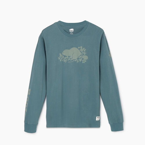 Roots-Men Our Favourite New Arrivals-Mens Remix Long Sleeve  T-shirt-North Atlantic-A
