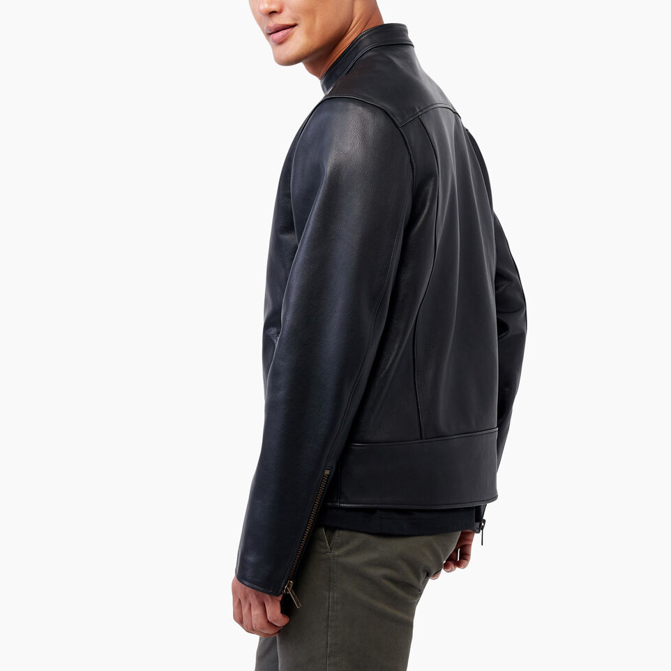 Roots-Leather Leather Jackets-Keith Jacket Lake-Black-D