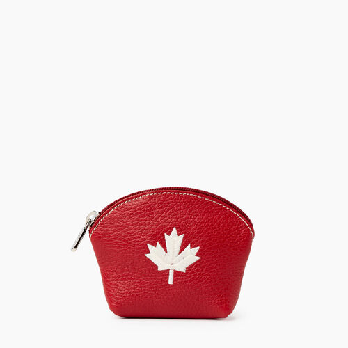 Roots-Leather Leather Accessories-Maple Leaf Euro Pouch Cervino-Canadian Red-A
