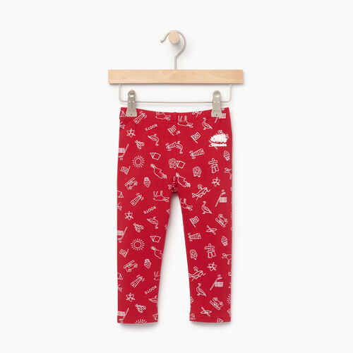 Roots-Kids Canada Collection-Toddler Canada Aop Legging-Sage Red-A