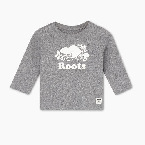 Roots-Kids T-shirts-Baby Original Cooper Beaver T-shirt-Salt & Pepper-A