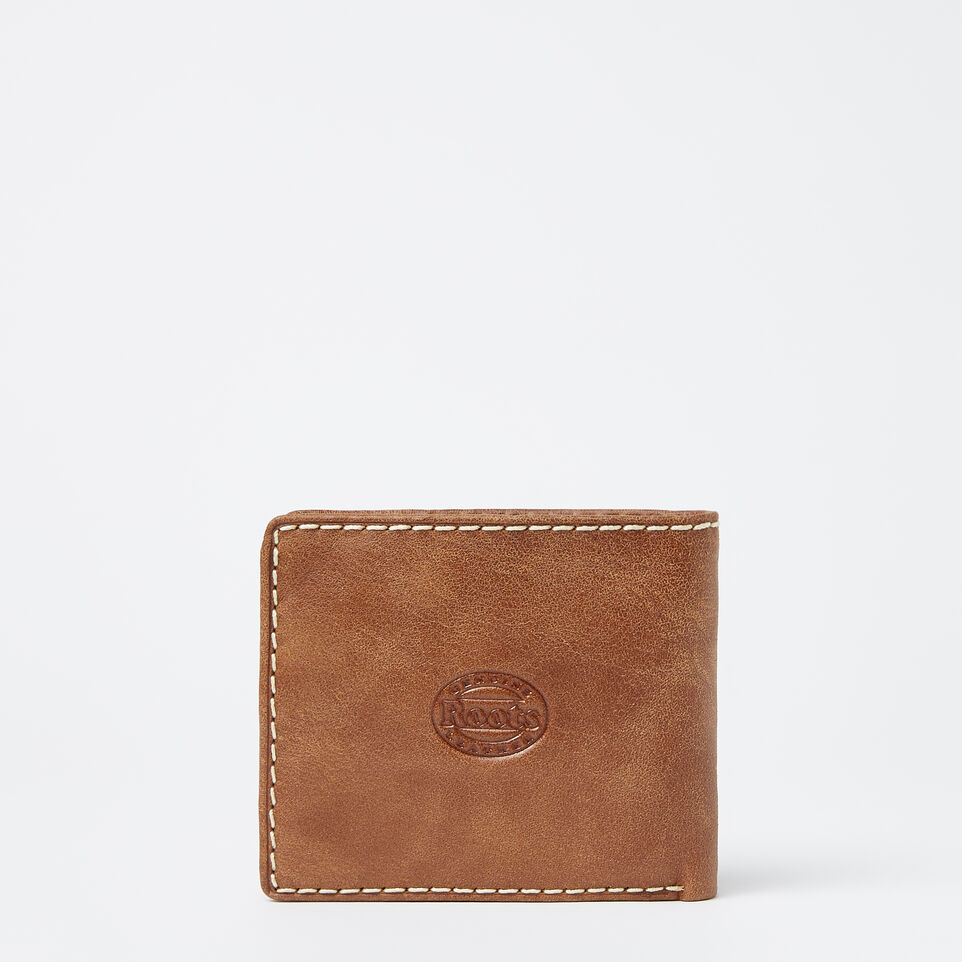 Roots-Leather Men's Wallets-Mens Slimfold Wallet With Coin Pocket Tribe-Natural-C