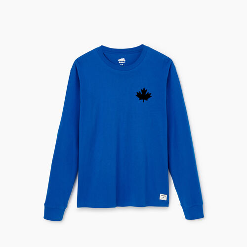 Roots-Clearance Tops-Mens Cooper Leaf Long Sleeve T-shirt-Olympus Blue-A