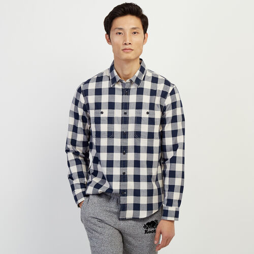 Roots-Men Our Favourite New Arrivals-Lightweight Park Plaid Shirt-Flaxseed Mix-A