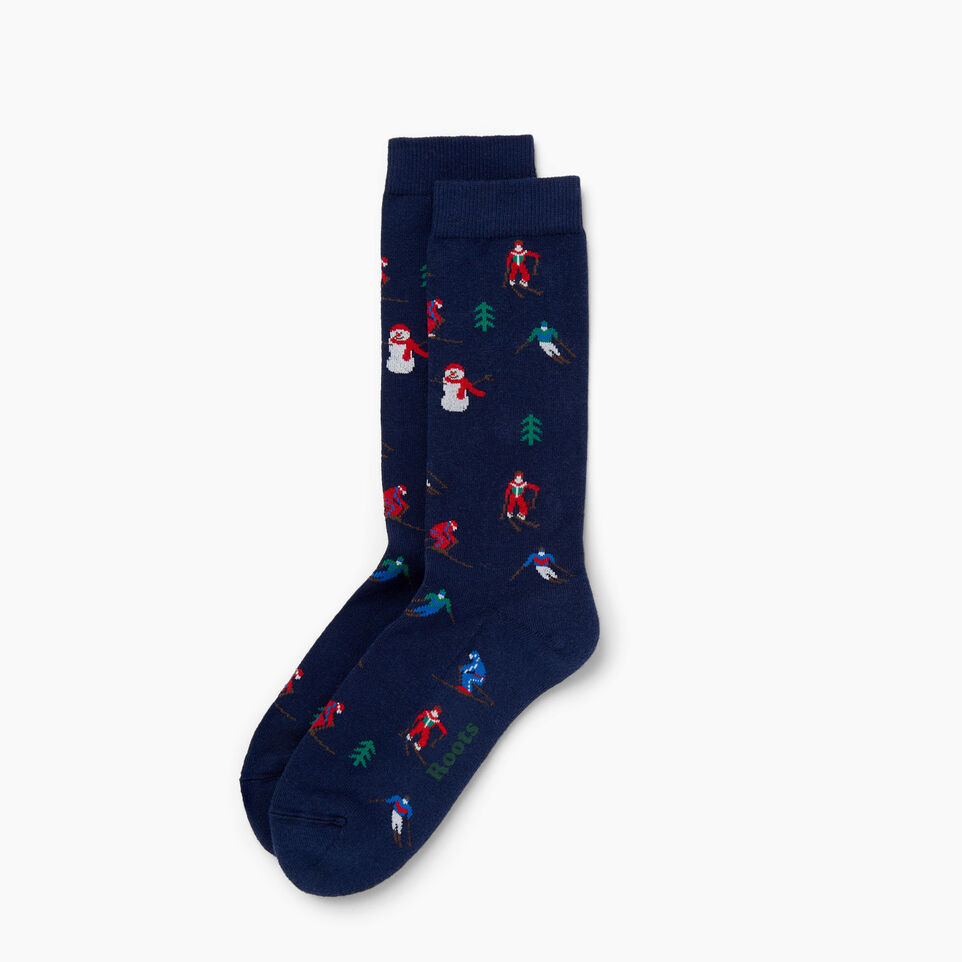 Roots-Women Our Favourite New Arrivals-Womens Slopes Boot Sock-Navy-A