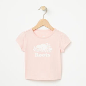 Roots-Kids T-shirts-Baby Cooper Beaver Puff T-shirt-Lotus Pink-A