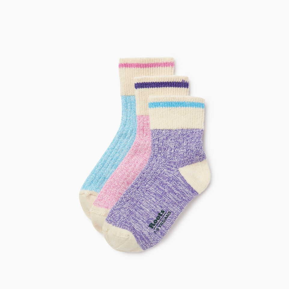 Roots-Kids New Arrivals-Kids Cotton Cabin Ankle Sock 3 Pack-Purple-A