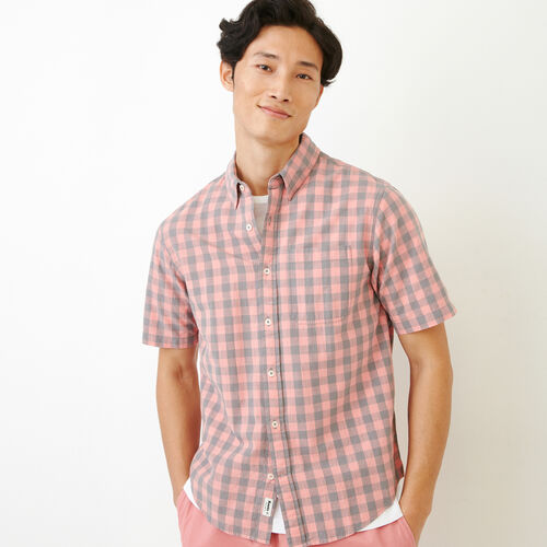 Roots-New For June Plaids-White Pine Short Sleeve Shirt-Sunset Apricot-A