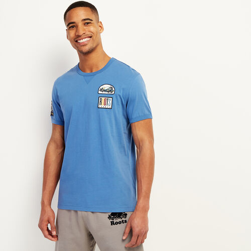 Roots-Men Clothing-Camp Patch T-shirt-Federal Blue-A