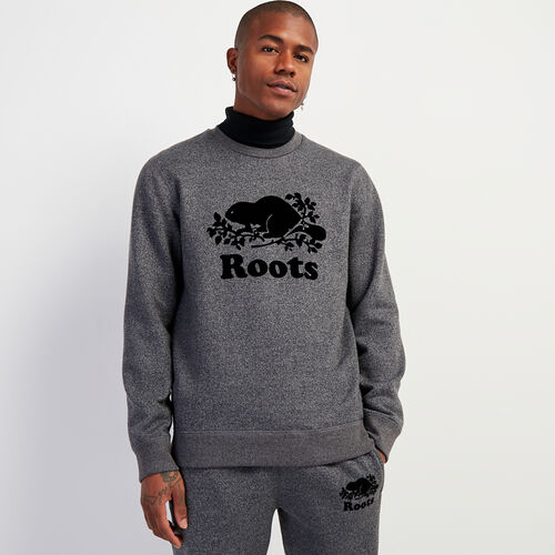Roots-Men New Arrivals-Cooper Beaver Crew Sweatshirt-Charcoal Pepper-A