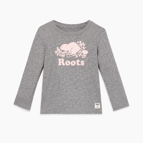 Roots-Kids Tops-Toddler Original Cooper Beaver T-shirt-Salt & Pepper-A