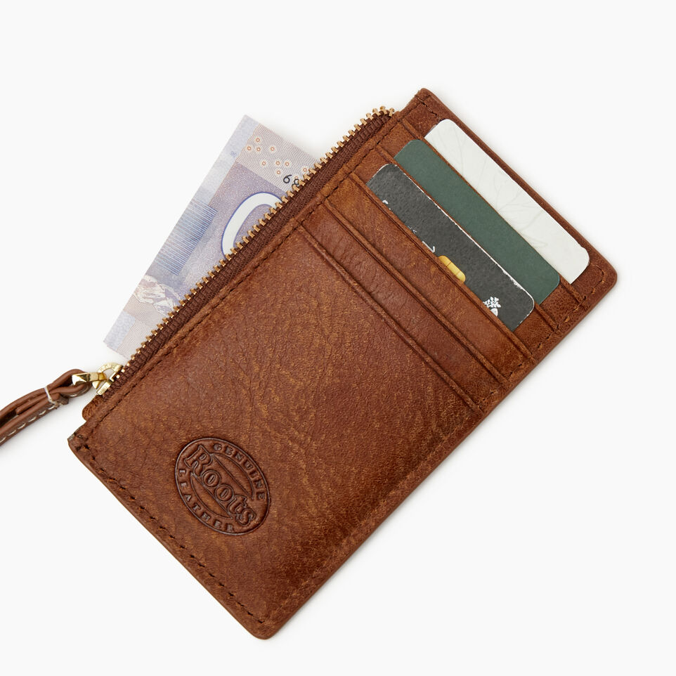 Roots-Leather Leather Accessories-Medium Card Wristlet-Natural-C