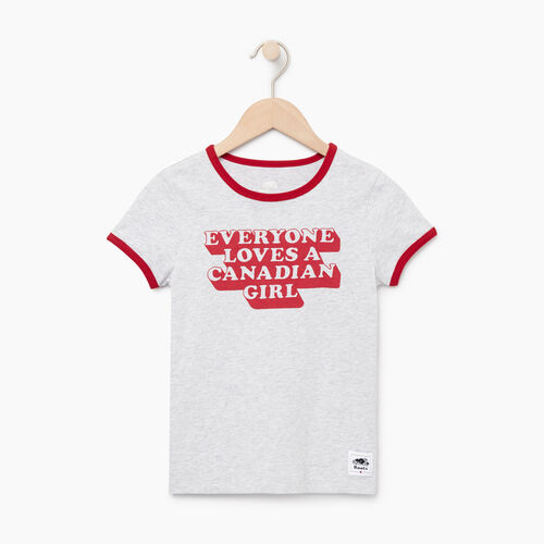 Roots-Kids Tops-Girls Canadian Girl T-shirt-Snowy Ice Mix-A