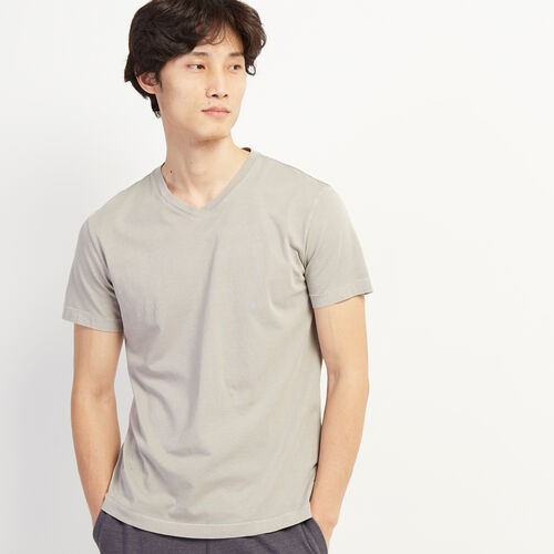 Roots-Men Clothing-Essential V-neck T-shirt-Cloudburst-A