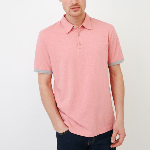 Roots-Men Categories-Slub Jersey Polo-Sunset Apricot-A