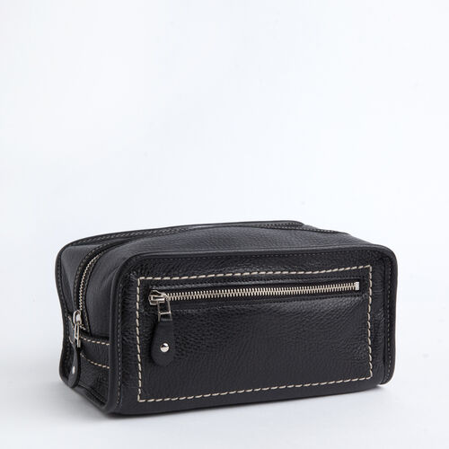 Roots-Men Leather Accessories-Shaving Kit Prince-Black-A