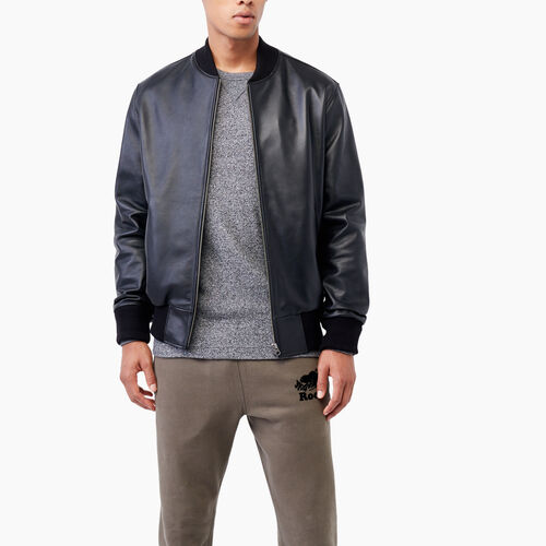 Roots-Leather Leather Jackets-Commander Jacket Lake-Black-A