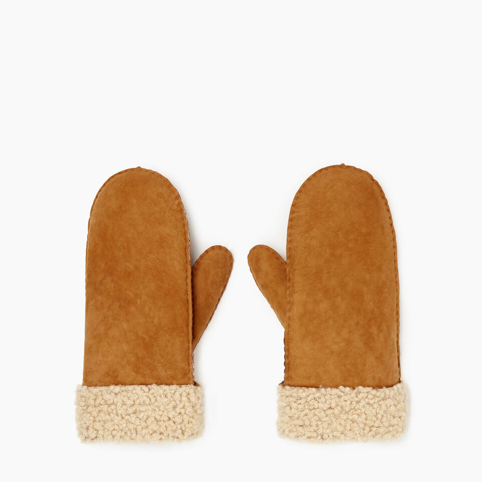 Roots-Leather New Arrivals-Womens Shearling Mitt-Tan-B