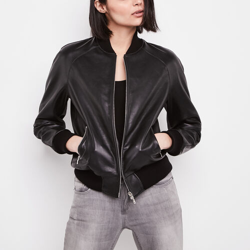 Roots-Leather Leather Jackets-Womens Raglan Jacket Lake-Black-A