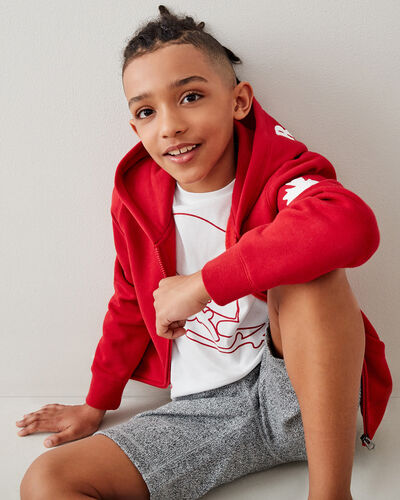 Roots-Sweats Boys-Kids Canada Full Zip Hoodie-Sage Red-A