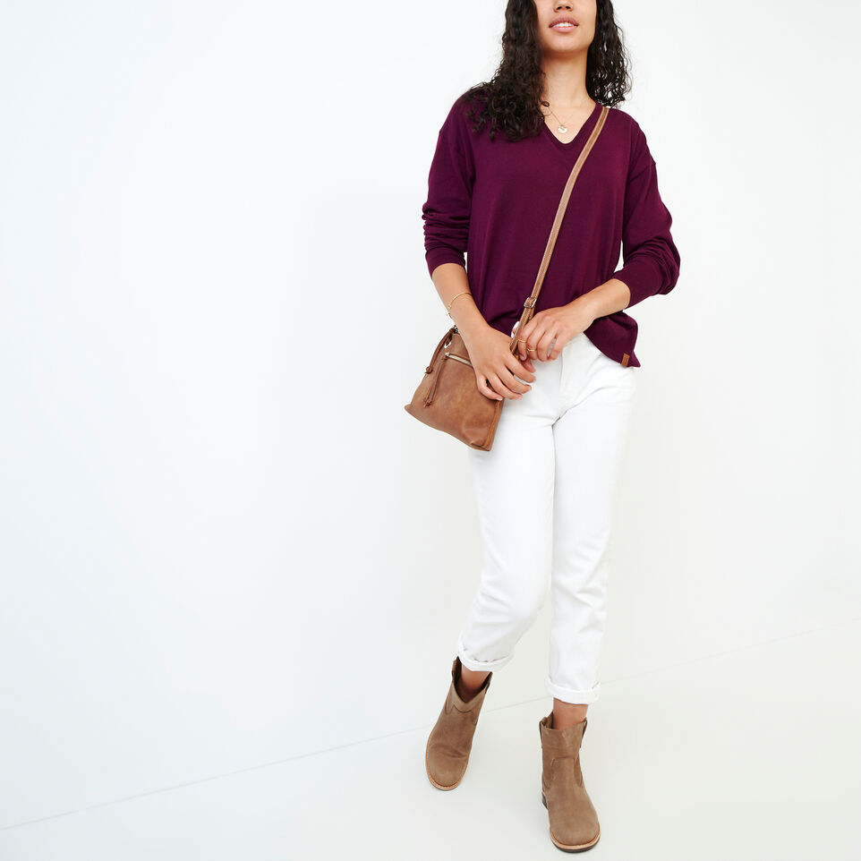 Roots-Women Categories-Fauna V Neck Sweater-Pickled Beet-B