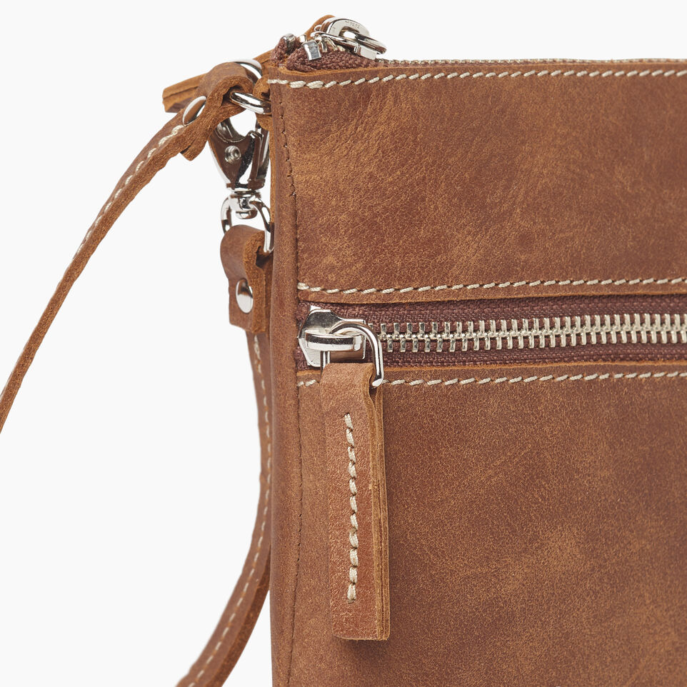 Roots-Leather  Handcrafted By Us Our Favourite New Arrivals-Double Zip Wristlet-Natural-D