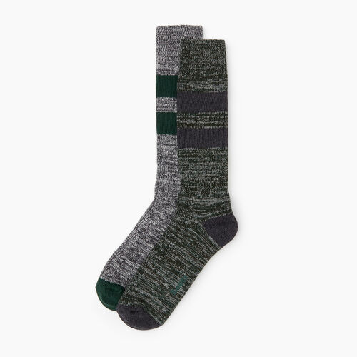 Roots-Clearance Men-Camp Sock 2 Pack-Park Green-A