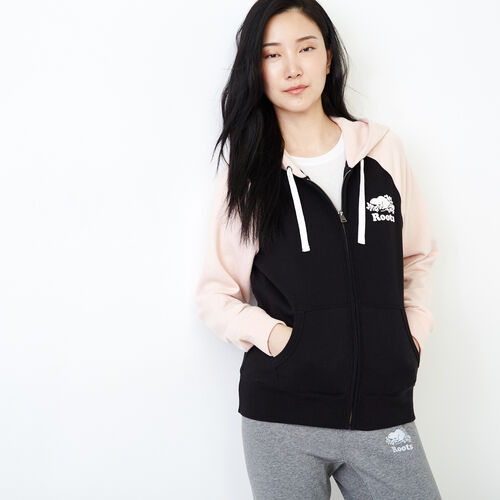 Roots-Women Categories-Colour blocked Full Zip Hoody-Black-A