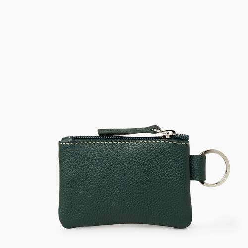 Roots-Leather Tech & Travel-Top Zip Pouch Cervino-Forest Green-A