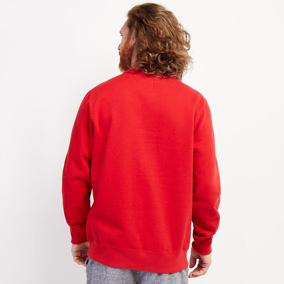 Roots-Sweats Men-Blazon Crew Sweatshirt-Sage Red-D