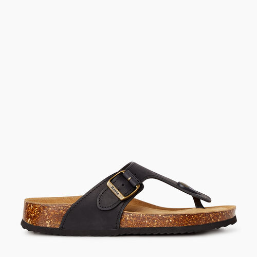 Roots-Footwear Categories-Womens Natural Toe Thong Sandal-Black-A
