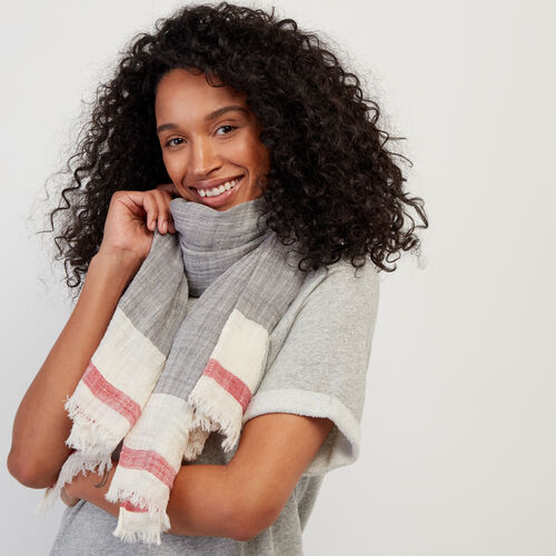 Roots-New For July The Roots Cabin Collection™-Roots Cotton Cabin Scarf-Light Salt & Pepper-A
