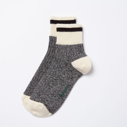 Roots-Women Socks-Womens Cotton Cabin Ankle Sock 2 Pack-Black Mix-A