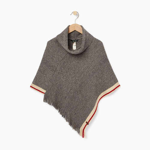 Roots-Kids Accessories-Kids Cabin Poncho-Grey Oat Mix-A