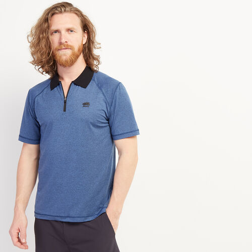 Roots-Men Clothing-Journey Zip Polo-Federal Blue Mix-A