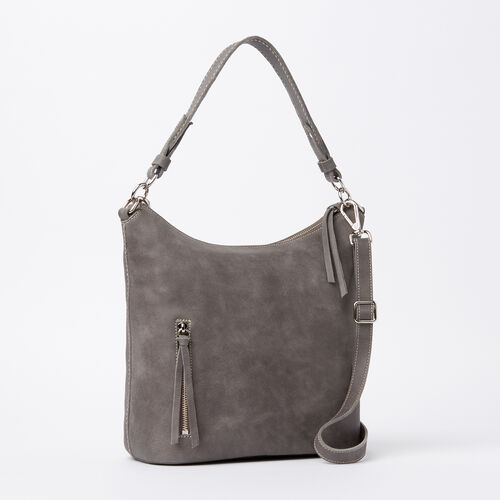 Roots-Leather  Handcrafted By Us Handbags-Ella Bag Tribe-Charcoal-A