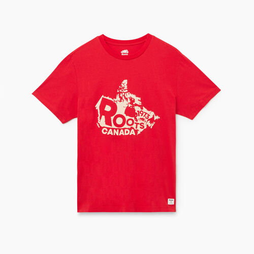 Roots-Men Graphic T-shirts-Mens Roots Canada Map T-shirt-Racing Red-A