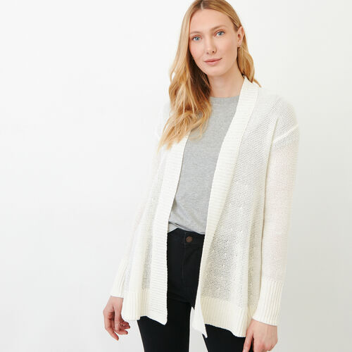 Roots-Women Sweaters & Cardigans-Hillsview Open Cardigan-Ivory-A