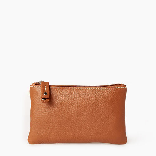 Roots-Women Leather Accessories-Medium Zip Pouch-Caramel-A