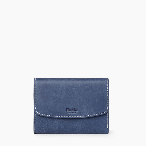 Roots-Women Wallets-Liberty Trifold Wallet Tribe-Denim Blue-A