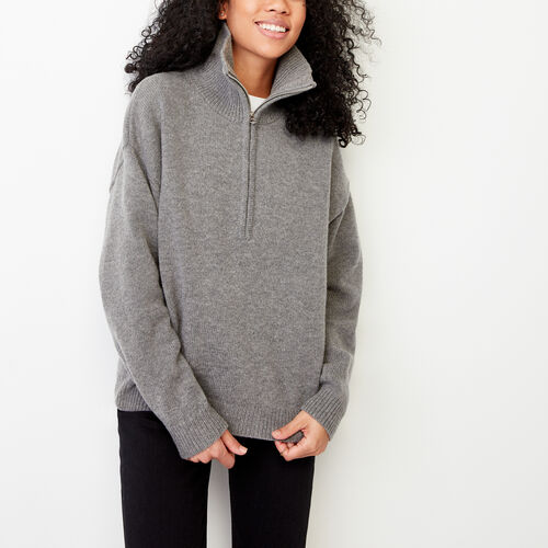 Roots-Winter Sale Women-Morrison Sweater Stein-Med Grey Mix-A