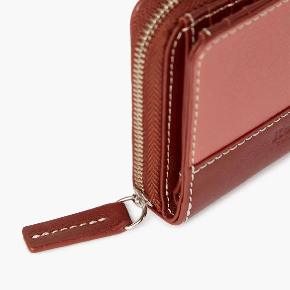 Roots-Leather Categories-Small Zip Wallet-Canyon Rose/oak-D