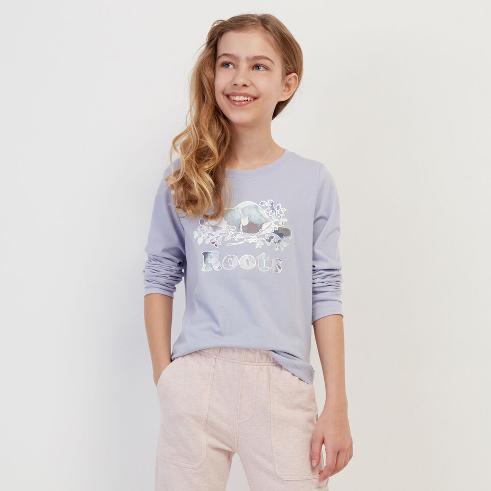 Roots-Kids Our Favourite New Arrivals-Girls Original Cooper Beaver T-shirt-Cosmic Sky-A