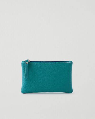 Roots-Leather Tech & Travel-Medium Zip Pouch Cervino-Blue Lagoon-A