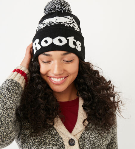 Roots-Women Categories-Cooper Beaver Pom Pom Toque-Black-A