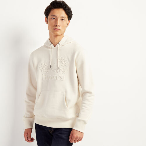 Roots-Men New Arrivals-Embossed Cooper Hoody-Cream-A