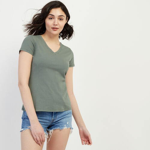 Roots-Women Our Favourite New Arrivals-Essential Slim  V-neck T-shirt-Balsam Green-A