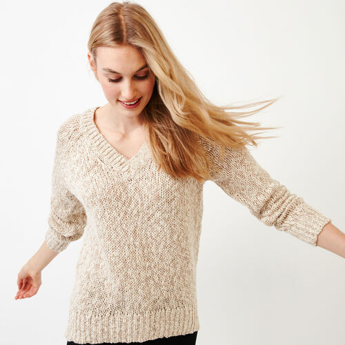 Roots-Women Sweaters & Cardigans-Laurel V Neck Sweater-Oatmeal Mix-A