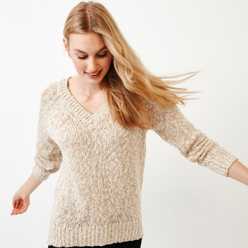 Roots-Women Our Favourite New Arrivals-Laurel V Neck Sweater-Oatmeal Mix-A
