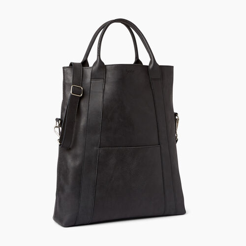 Roots-Clearance Leather-Large Annex Tote-Jet Black-A